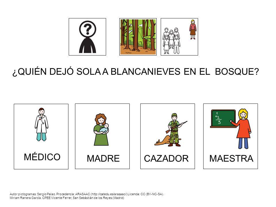 ¿QUIÉN DEJÓ SOLA A BLANCANIEVES EN EL BOSQUE? MADRECAZADORMAESTRA MÉDICO Autor pictogramas: Sergio Palao. Procedencia: ARASAAC (http://catedu.es/arasa