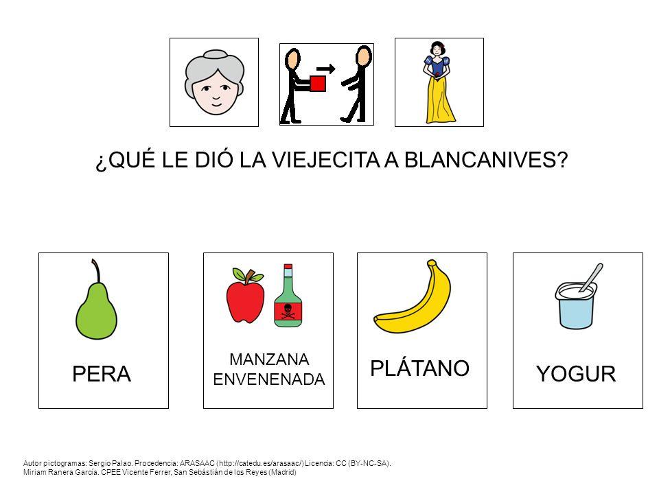 ¿QUÉ LE DIÓ LA VIEJECITA A BLANCANIVES? Autor pictogramas: Sergio Palao. Procedencia: ARASAAC (http://catedu.es/arasaac/) Licencia: CC (BY-NC-SA). Mir