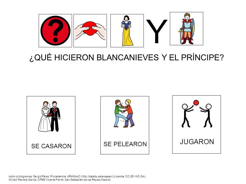¿QUÉ HICIERON BLANCANIEVES Y EL PRÍNCIPE? Y Autor pictogramas: Sergio Palao. Procedencia: ARASAAC (http://catedu.es/arasaac/) Licencia: CC (BY-NC-SA).