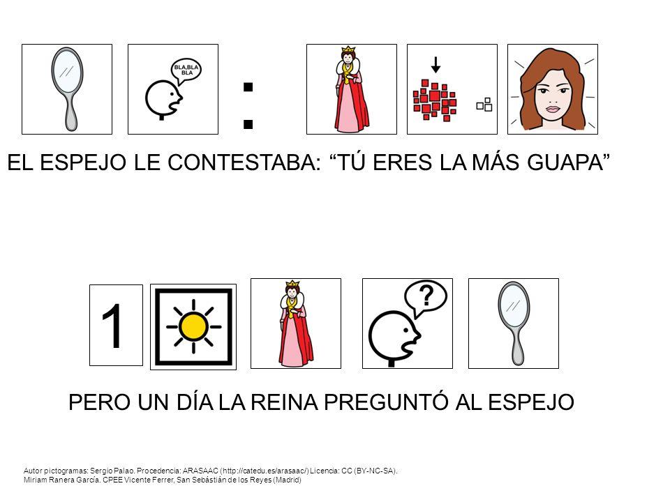 Y EL ESPEJO LE CONTESTÓ: LA MÁS GUAPA ES BLANCANIEVES : ENTONCES LA REINA SE ENFADÓ Autor pictogramas: Sergio Palao.