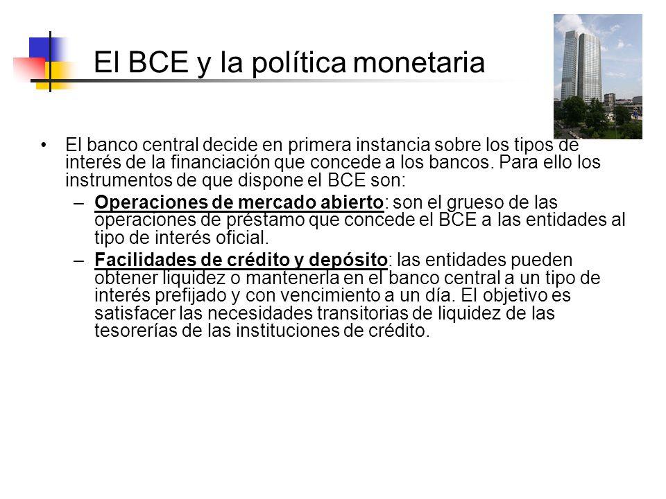 El BCE y la política monetaria El banco central decide en primera instancia sobre los tipos de interés de la financiación que concede a los bancos. Pa