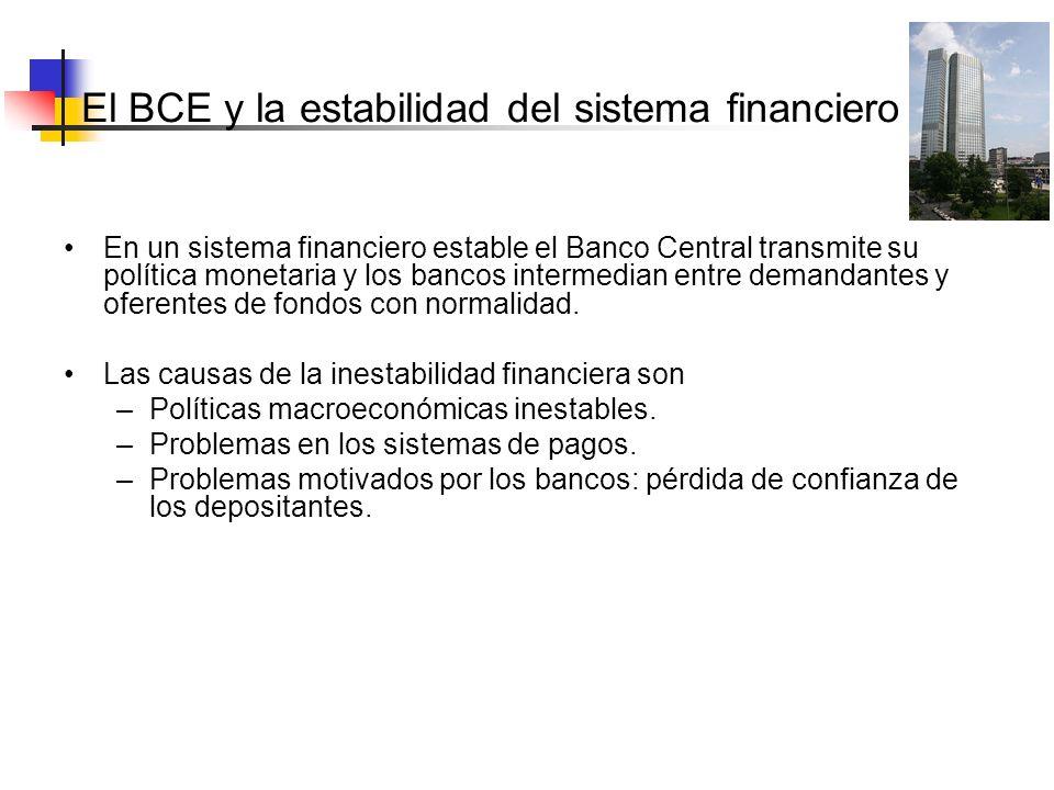 El BCE y la estabilidad del sistema En un sistema financiero estable el Banco Central transmite su política monetaria y los bancos intermedian entre d