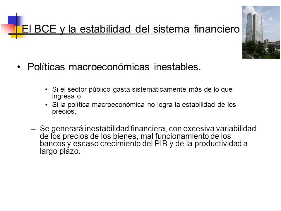 El BCE y la estabilidad del sistema Políticas macroeconómicas inestables. Si el sector público gasta sistemáticamente más de lo que ingresa o Si la po