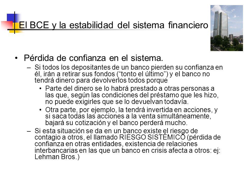 El BCE y la estabilidad del sistema Pérdida de confianza en el sistema. –Si todos los depositantes de un banco pierden su confianza en él, irán a reti