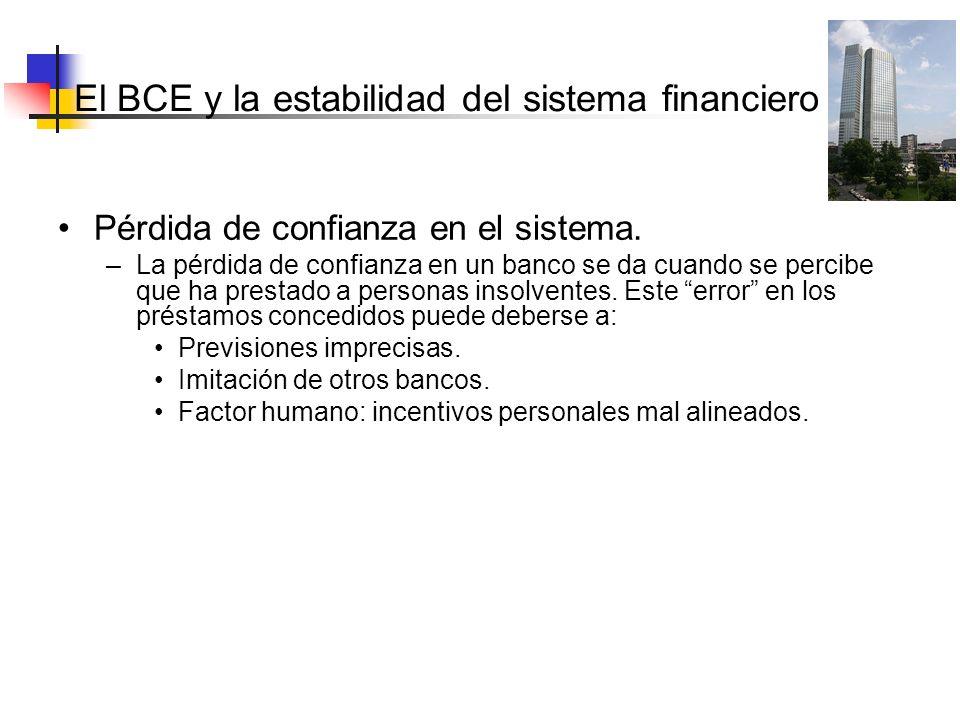 El BCE y la estabilidad del sistema Pérdida de confianza en el sistema. –La pérdida de confianza en un banco se da cuando se percibe que ha prestado a