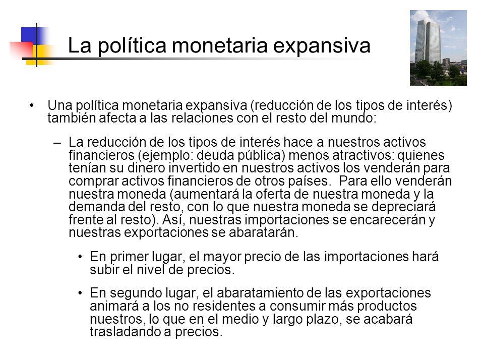 La política monetaria expansiva Una política monetaria expansiva (reducción de los tipos de interés) también afecta a las relaciones con el resto del