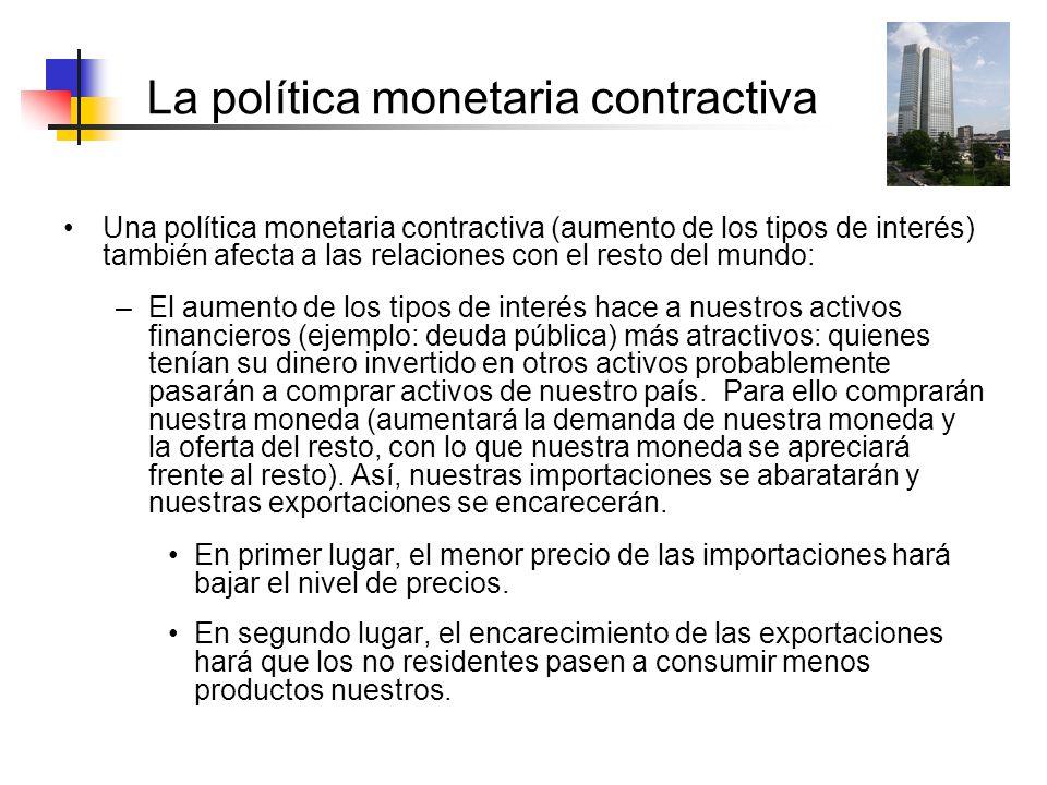 La política monetaria contractiva Una política monetaria contractiva (aumento de los tipos de interés) también afecta a las relaciones con el resto de
