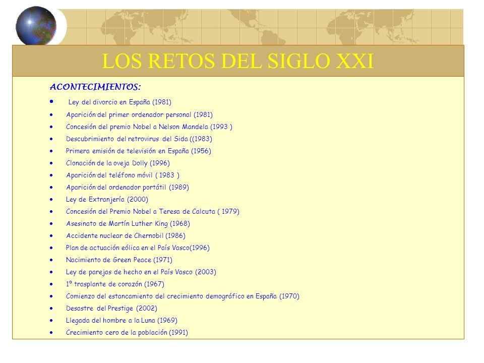LOS RETOS DEL SIGLO XXI ACONTECIMIENTOS: Ley del divorcio en España (1981) Aparición del primer ordenador personal (1981) Concesión del premio Nobel a