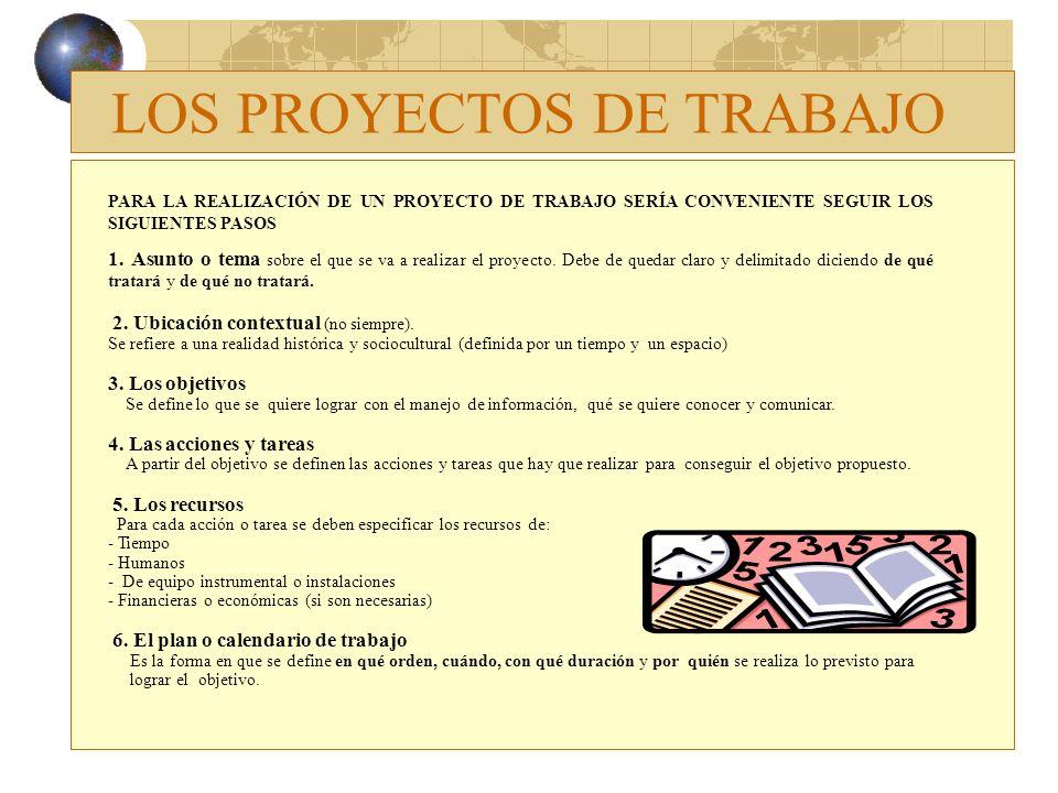 PARA LA REALIZACIÓN DE UN PROYECTO DE TRABAJO SERÍA CONVENIENTE SEGUIR LOS SIGUIENTES PASOS 1. Asunto o tema sobre el que se va a realizar el proyecto