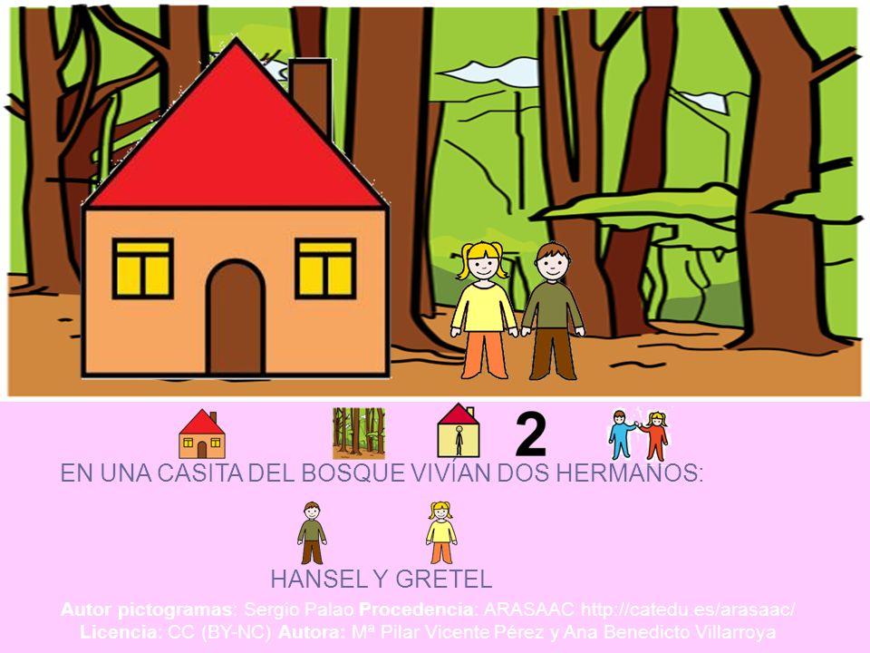EN UNA CASITA DEL BOSQUE VIVÍAN DOS HERMANOS: HANSEL Y GRETEL Autor pictogramas: Sergio Palao Procedencia: ARASAAC http://catedu.es/arasaac/ Licencia: