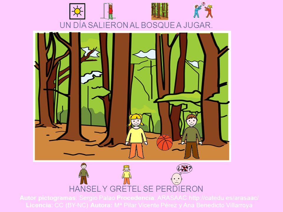 UN DÍA SALIERON AL BOSQUE A JUGAR. HANSEL Y GRETEL SE PERDIERON Autor pictogramas: Sergio Palao Procedencia: ARASAAC http://catedu.es/arasaac/ Licenci