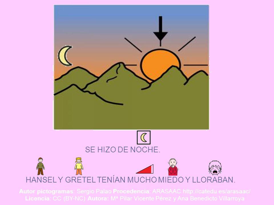 SE HIZO DE NOCHE. HANSEL Y GRETEL TENÍAN MUCHO MIEDO Y LLORABAN. Autor pictogramas: Sergio Palao Procedencia: ARASAAC http://catedu.es/arasaac/ Licenc