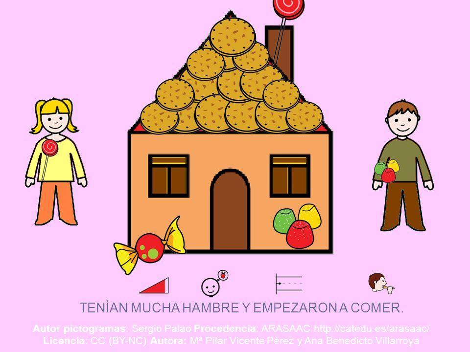 TENÍAN MUCHA HAMBRE Y EMPEZARON A COMER. Autor pictogramas: Sergio Palao Procedencia: ARASAAC http://catedu.es/arasaac/ Licencia: CC (BY-NC) Autora: M