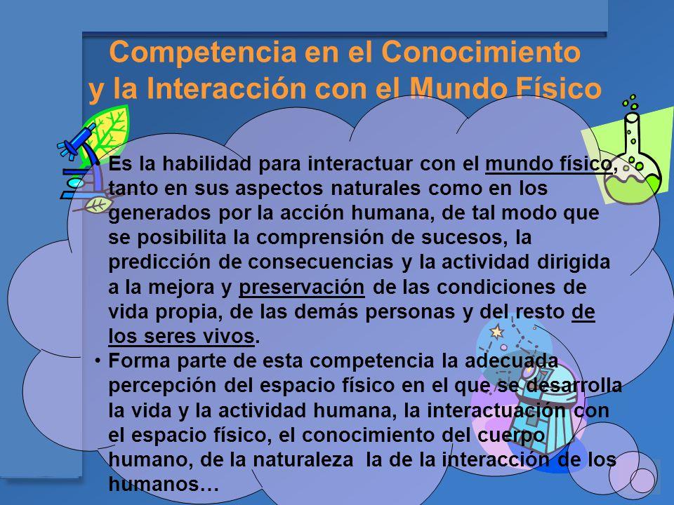 Materiales para el asesoramiento en Competencias Básicas Competencia en el Conocimiento y la Interacción con el Mundo Físico Es la habilidad para inte