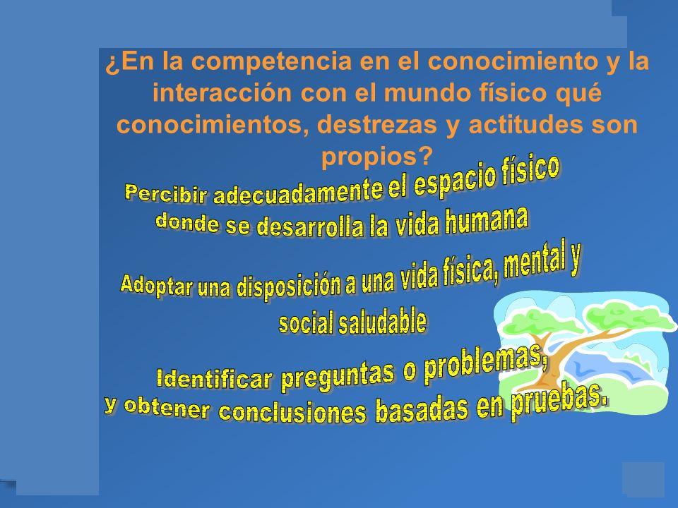 Materiales para el asesoramiento en Competencias Básicas ¿En la competencia en el conocimiento y la interacción con el mundo físico qué conocimientos,