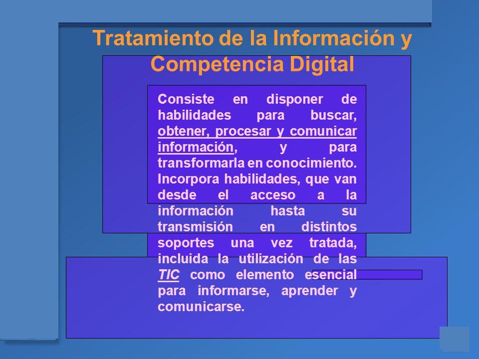 Materiales para el asesoramiento en Competencias Básicas Consiste en disponer de habilidades para buscar, obtener, procesar y comunicar información, y