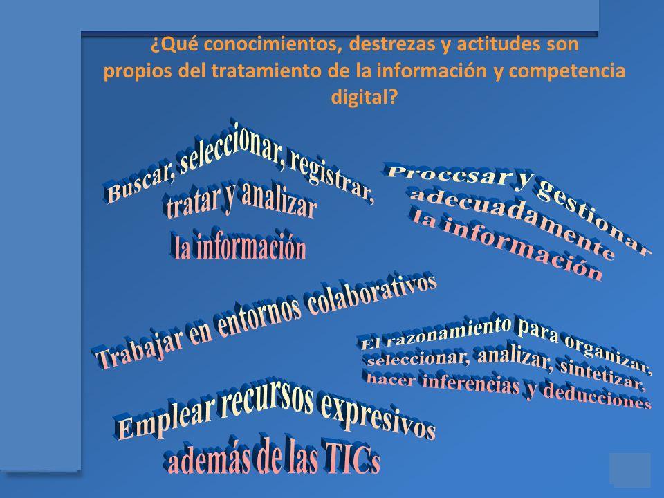 Materiales para el asesoramiento en Competencias Básicas ¿Qué conocimientos, destrezas y actitudes son propios del tratamiento de la información y com