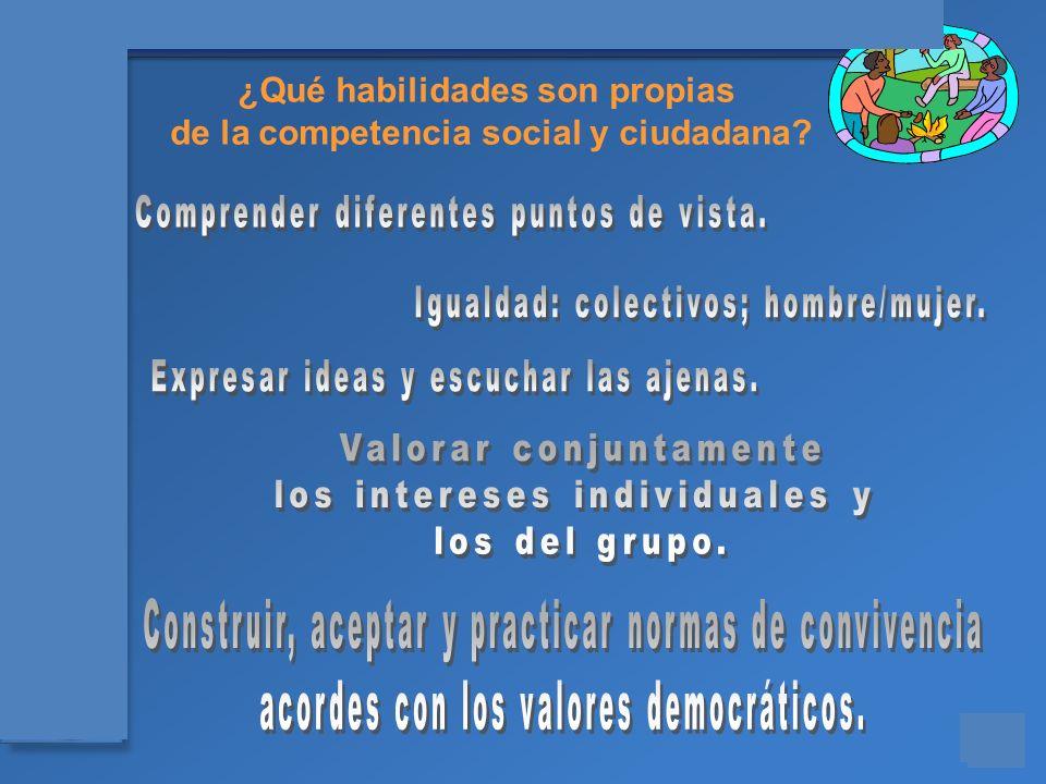 Materiales para el asesoramiento en Competencias Básicas ¿Qué habilidades son propias de la competencia social y ciudadana?