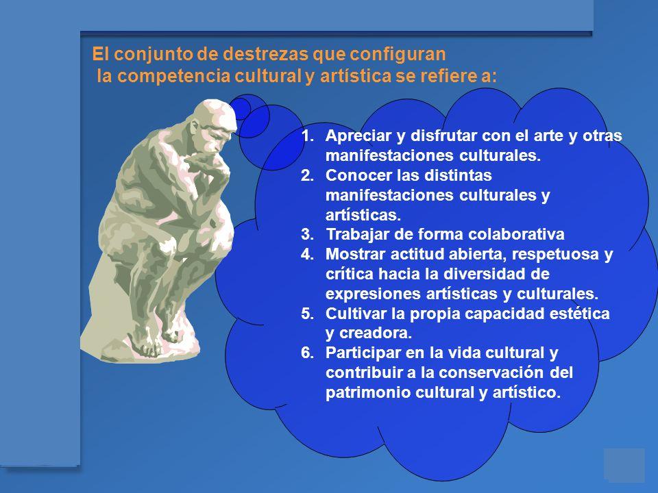 Materiales para el asesoramiento en Competencias Básicas El conjunto de destrezas que configuran la competencia cultural y artística se refiere a: 1.A
