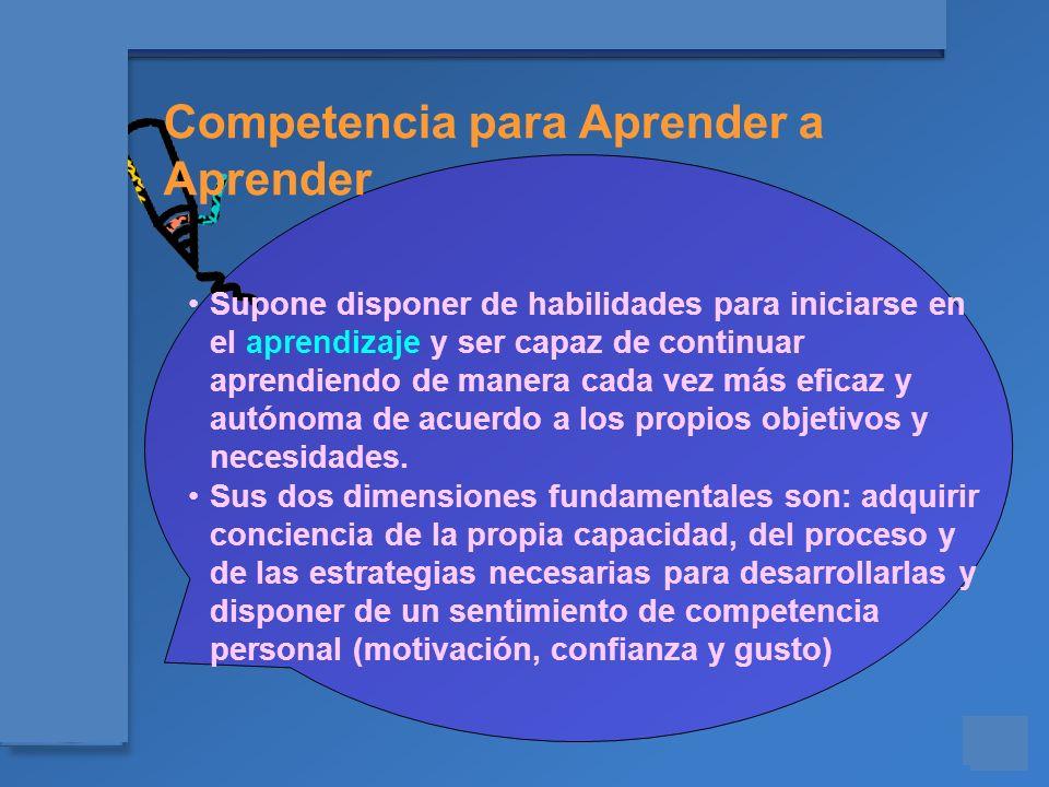 Materiales para el asesoramiento en Competencias Básicas Competencia para Aprender a Aprender Supone disponer de habilidades para iniciarse en el apre
