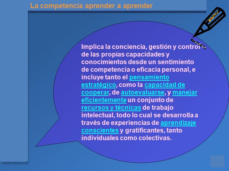 Materiales para el asesoramiento en Competencias Básicas Implica la conciencia, gestión y control de las propias capacidades y conocimientos desde un