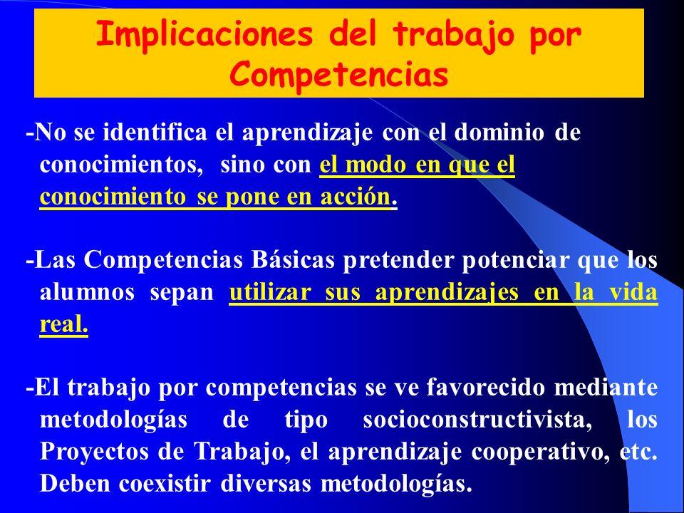 Implicaciones del trabajo por Competencias -No se identifica el aprendizaje con el dominio de conocimientos, sino con el modo en que el conocimiento s