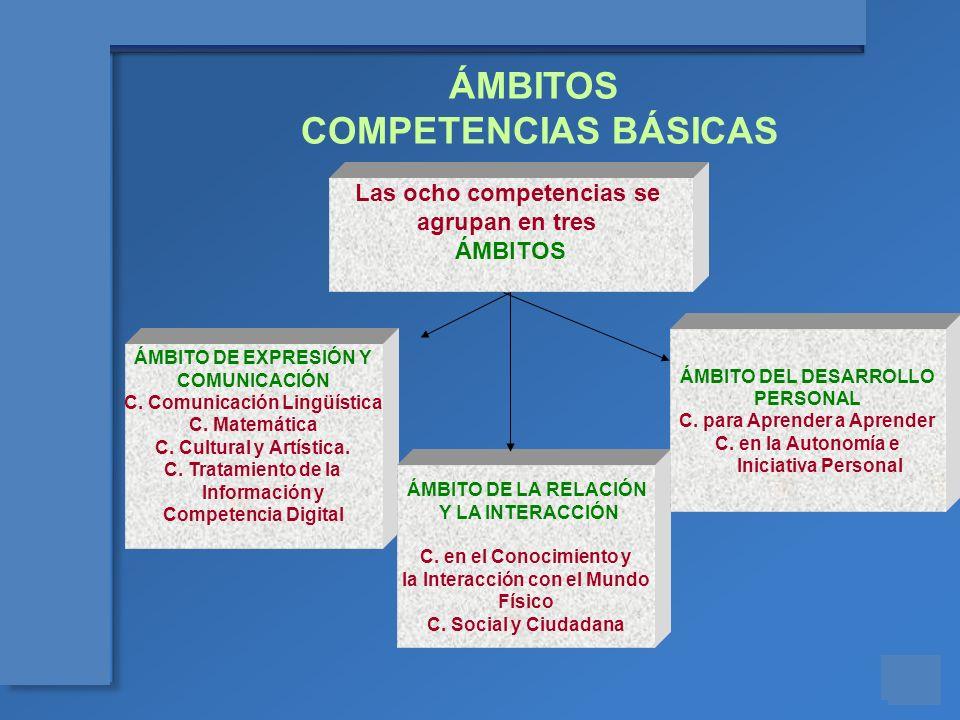 Materiales para el asesoramiento en Competencias Básicas Las ocho competencias se agrupan en tres ÁMBITOS ÁMBITO DE EXPRESIÓN Y COMUNICACIÓN C. Comuni