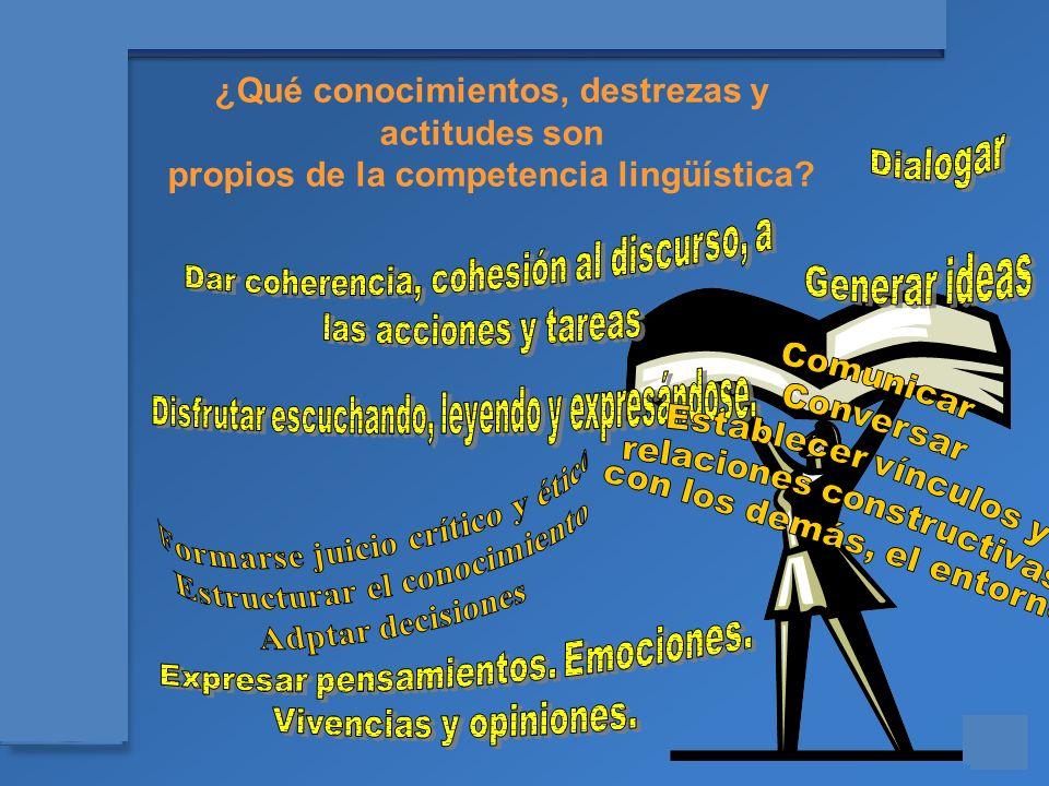 Materiales para el asesoramiento en Competencias Básicas ¿Qué conocimientos, destrezas y actitudes son propios de la competencia lingüística?