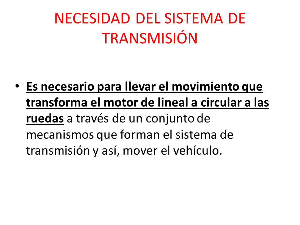 NECESIDAD DEL SISTEMA DE TRANSMISIÓN Es necesario para llevar el movimiento que transforma el motor de lineal a circular a las ruedas a través de un c