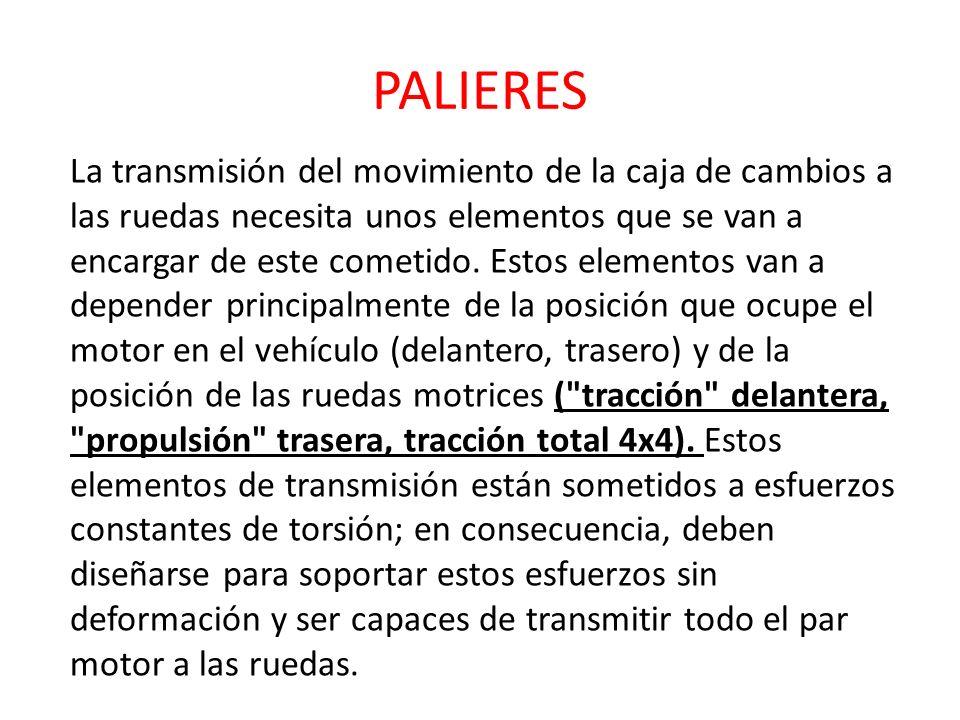 PALIERES La transmisión del movimiento de la caja de cambios a las ruedas necesita unos elementos que se van a encargar de este cometido. Estos elemen