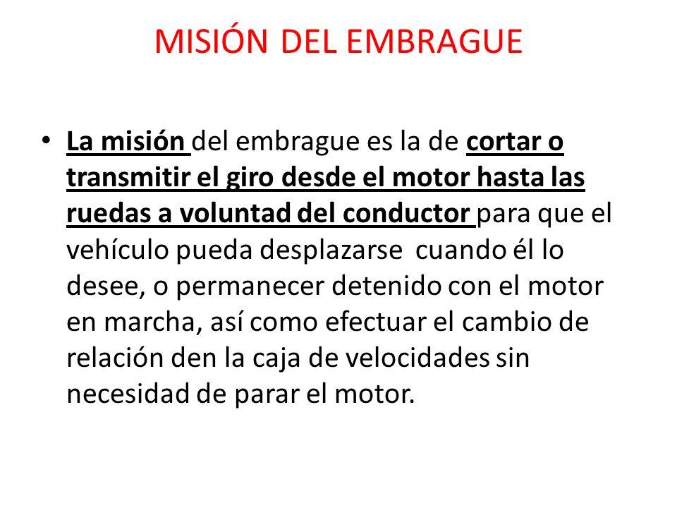MISIÓN DEL EMBRAGUE La misión del embrague es la de cortar o transmitir el giro desde el motor hasta las ruedas a voluntad del conductor para que el v