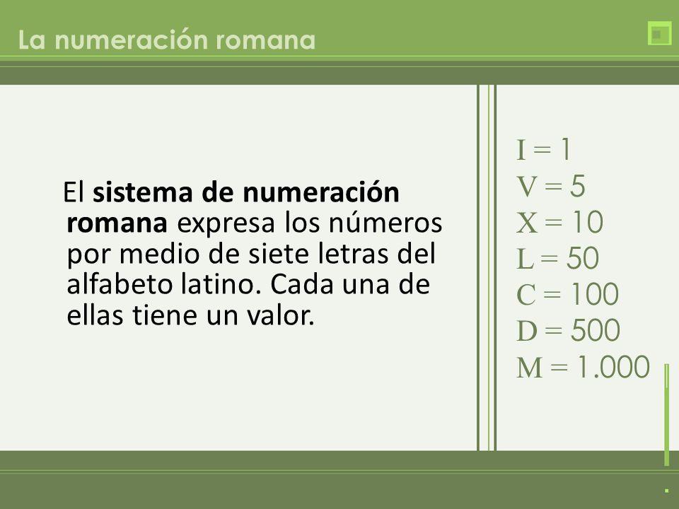 El sistema de numeración romana expresa los números por medio de siete letras del alfabeto latino. Cada una de ellas tiene un valor. La numeración rom
