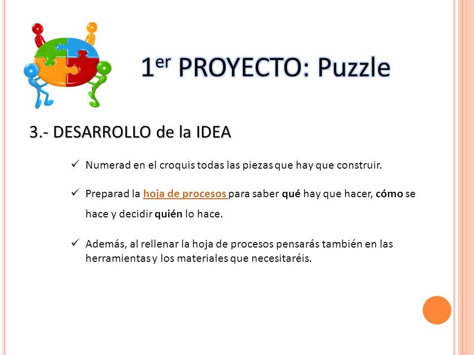 3.- DESARROLLO de la IDEA Numerad en el croquis todas las piezas que hay que construir. Preparad la hoja de procesos para saber qué hay que hacer, cóm