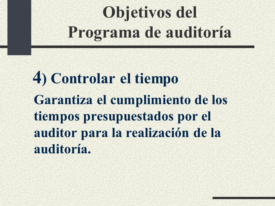 Objetivos del Programa de auditoría 3) Facilitar la supervisión y el control del trabajo realizado por los colaboradores.