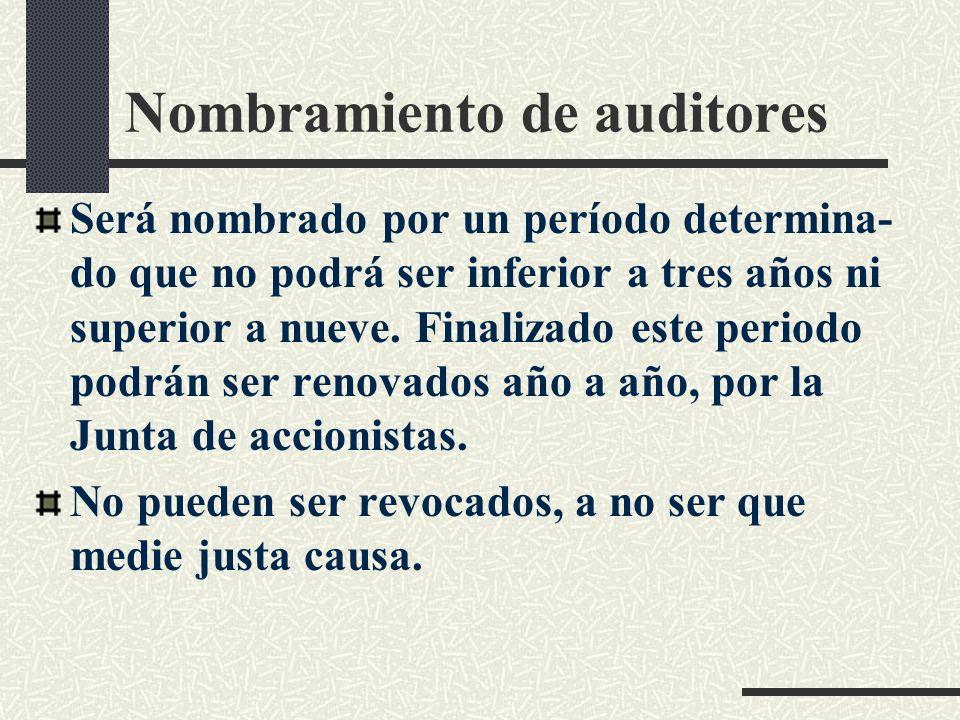 Nombramiento de auditores Será nombrado por un período determina- do que no podrá ser inferior a tres años ni superior a nueve.