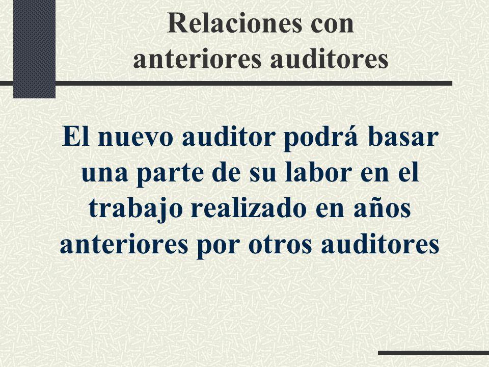 Relaciones con anteriores auditores El nuevo auditor podrá basar una parte de su labor en el trabajo realizado en años anteriores por otros auditores