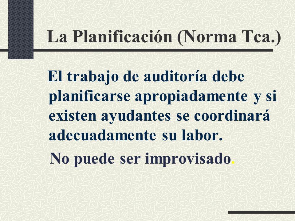 La Planificación (Norma Tca.) El trabajo de auditoría debe planificarse apropiadamente y si existen ayudantes se coordinará adecuadamente su labor.