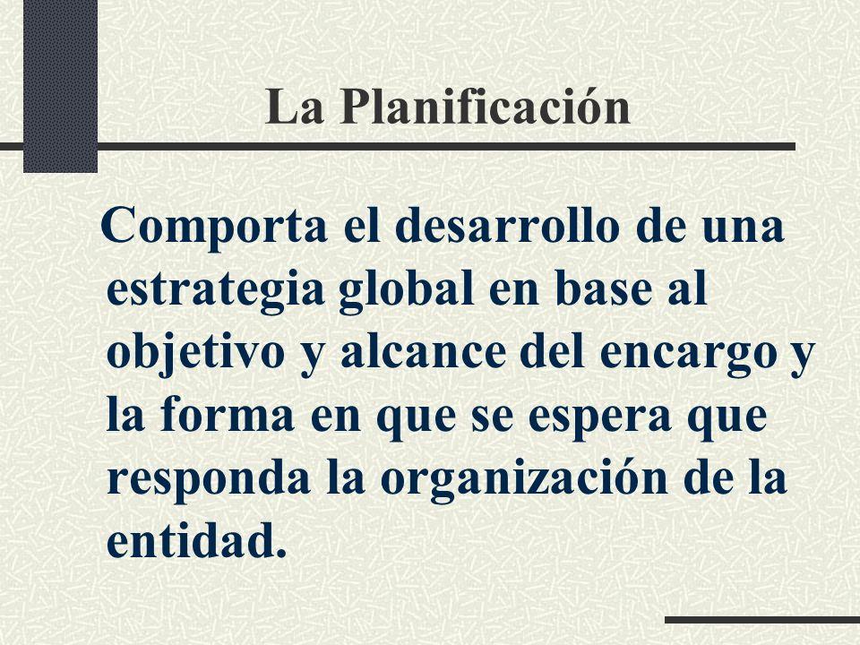 La Planificación Comporta el desarrollo de una estrategia global en base al objetivo y alcance del encargo y la forma en que se espera que responda la organización de la entidad.