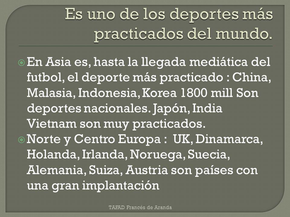 En Asia es, hasta la llegada mediática del futbol, el deporte más practicado : China, Malasia, Indonesia, Korea 1800 mill Son deportes nacionales. Jap