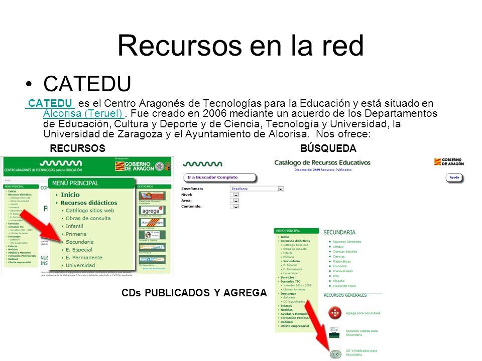 Recursos en la red CATEDU CATEDU es el Centro Aragonés de Tecnologías para la Educación y está situado en Alcorisa (Teruel).
