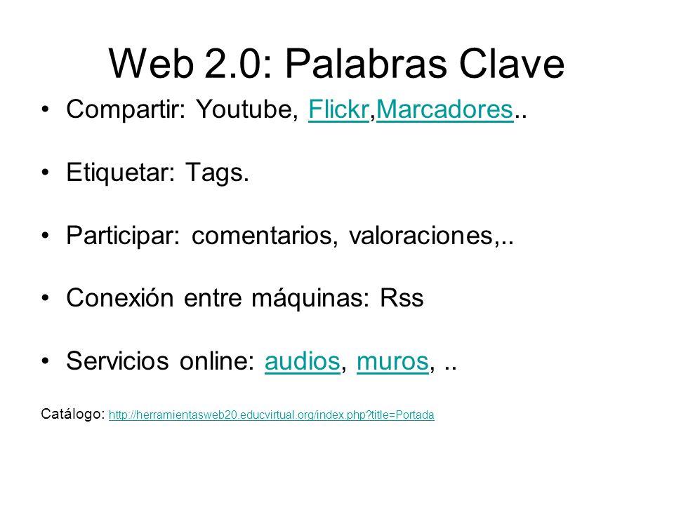 Web 2.0: Palabras Clave Compartir: Youtube, Flickr,Marcadores..FlickrMarcadores Etiquetar: Tags.