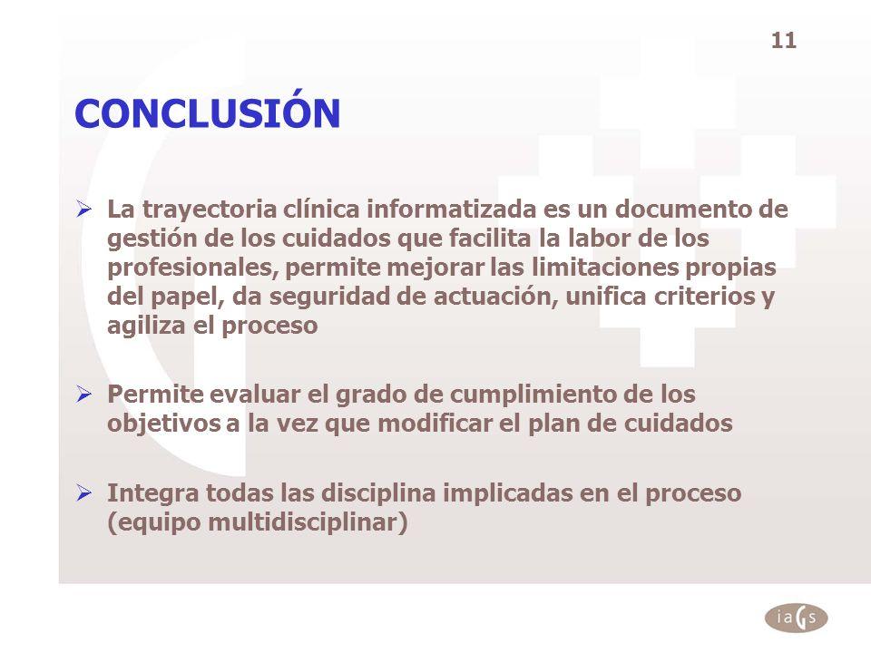 11 CONCLUSIÓN La trayectoria clínica informatizada es un documento de gestión de los cuidados que facilita la labor de los profesionales, permite mejo