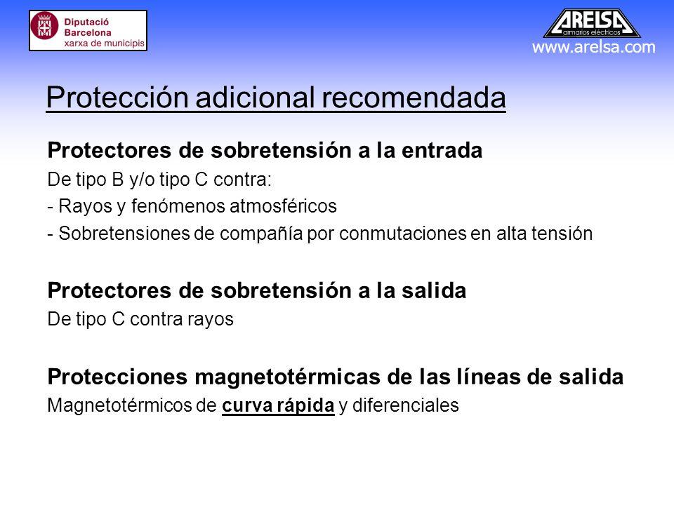 www.arelsa.com Protección adicional recomendada Protectores de sobretensión a la entrada De tipo B y/o tipo C contra: - Rayos y fenómenos atmosféricos