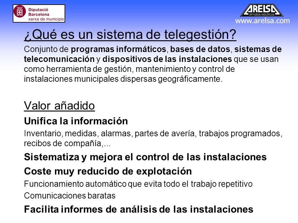 www.arelsa.com ¿Qué es un sistema de telegestión? Conjunto de programas informáticos, bases de datos, sistemas de telecomunicación y dispositivos de l