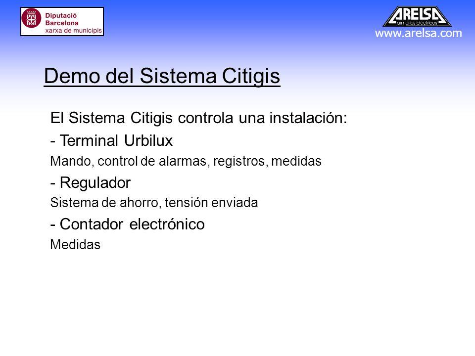 www.arelsa.com Demo del Sistema Citigis El Sistema Citigis controla una instalación: - Terminal Urbilux Mando, control de alarmas, registros, medidas