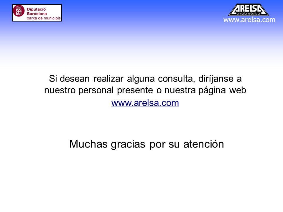 www.arelsa.com Muchas gracias por su atención Si desean realizar alguna consulta, diríjanse a nuestro personal presente o nuestra página web www.arels