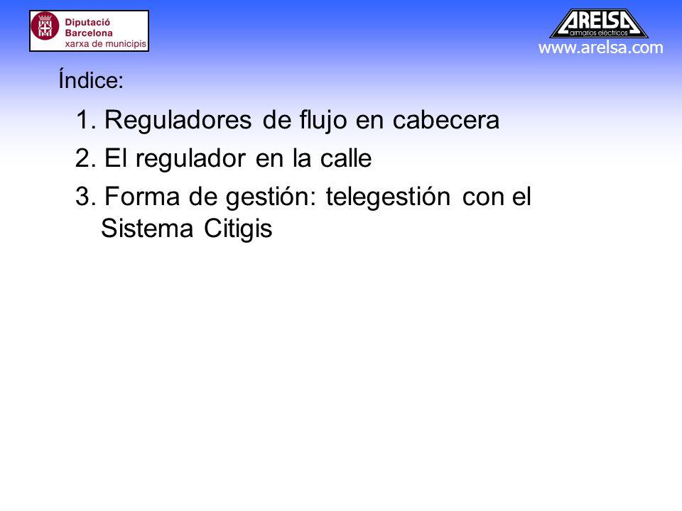 www.arelsa.com Índice: 1. Reguladores de flujo en cabecera 2. El regulador en la calle 3. Forma de gestión: telegestión con el Sistema Citigis