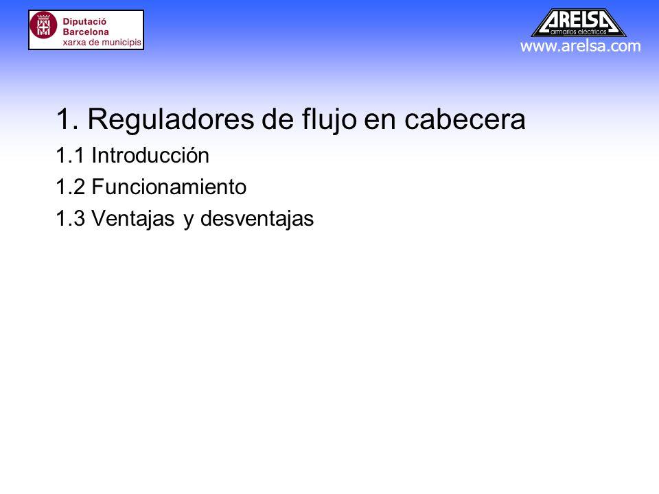 www.arelsa.com 1. Reguladores de flujo en cabecera 1.1 Introducción 1.2 Funcionamiento 1.3 Ventajas y desventajas