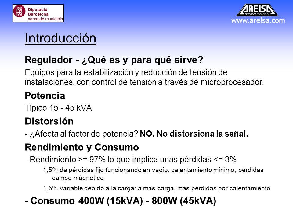 www.arelsa.com Tensión de salida: Rango típico 180-240V Precisión en la tensión de salida: 0,5% - 2,5% (1V - 5V) Saltos de tensión: 6 - 15 (saltos de 10V - 4V) Rampas: Rampa lenta (típica): 5 - 10 min Rampa rápida (pruebas) : 5 - 10 seg Uso típico en alumbrado público V(estabilización) = 220V V(ahorro) = 185 - 195V Funcionamiento
