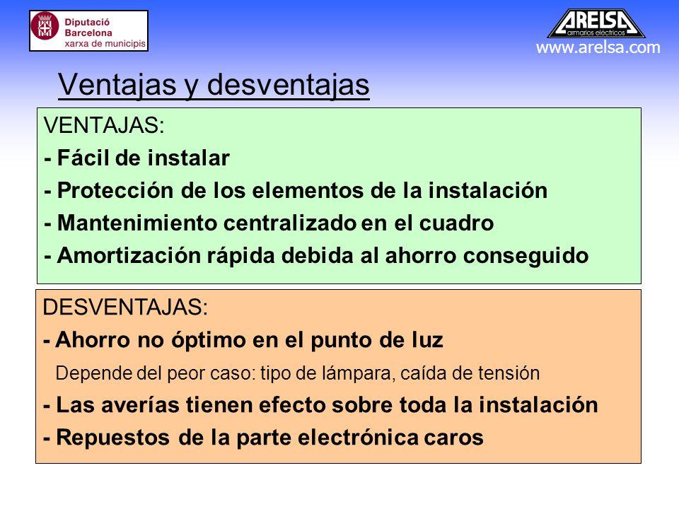 www.arelsa.com Ventajas y desventajas VENTAJAS: - Fácil de instalar - Protección de los elementos de la instalación - Mantenimiento centralizado en el